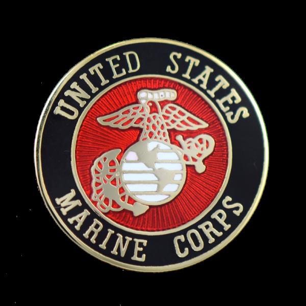 Full Color USMC Round Lapel Pin-0