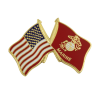 Marine Corps Crossed with US Flag Lapel Pin-0