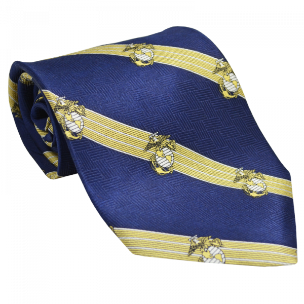 Navy Blue & Gold Striped Tie with EGAs-0