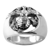 Sterling Silver Eagle, Globe & Anchor Ring
