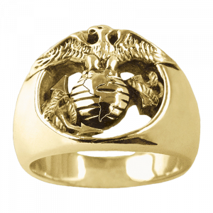 Carroll Collection 18K Gold Eagle, Globe & Anchor Ring