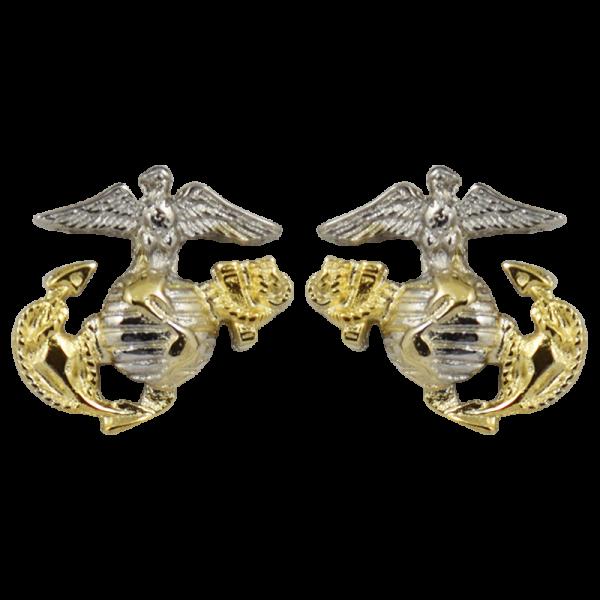 3D Two Tone Plated EGA Post Earrings-0