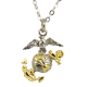 3D Two Tone Plated EGA Charm Necklace-0