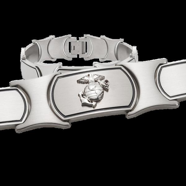 Men's Stainless Steel Bracelet with Sterling Silver EGA-0