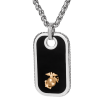 Stainless Steel Dog Tag Pendant with 14KT Gold EGA Accent-0