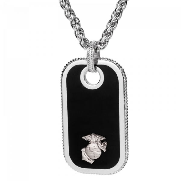 Stainless Steel Dog Tag Pendant with Pewter EGA Accent-0