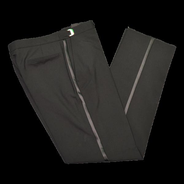 Plain Front Black Tuxedo Pants-0