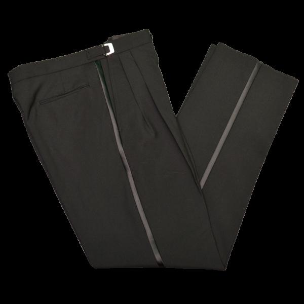 Pleated Front Black Tuxedo Pants-0