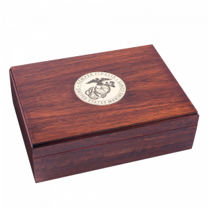 Solid Wood Jewelry Box with Two Tone USMC Emblem-0