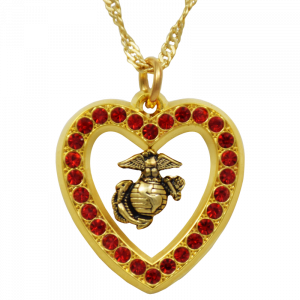 EGA & Red Crystals Heart Necklace-0