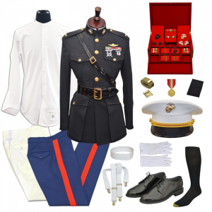 USMC Male 2nd Lt Blue Dress Uniform Package with Accessorie