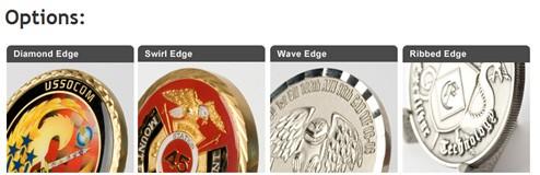Custom USMC challenge coin edge options