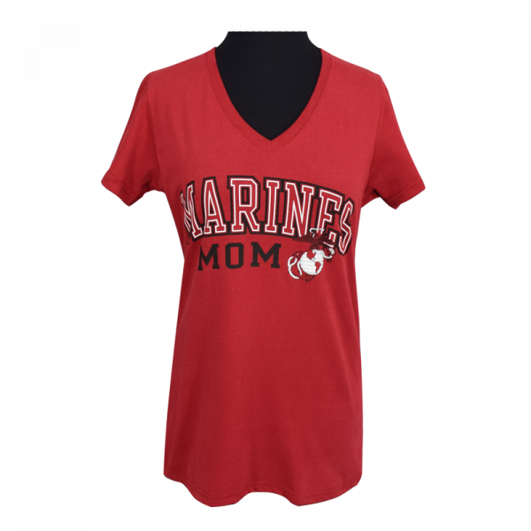 "Red ""Marines Mom"" V-Neck T-shirt-0"