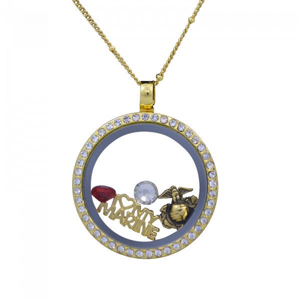 Gold Floating Charms Locket Necklace-0