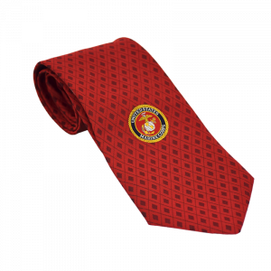 Red Grid Necktie with USMC Emblem-0