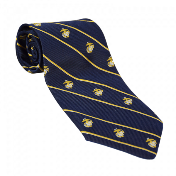Navy EGA Necktie with Gold Stripes-0