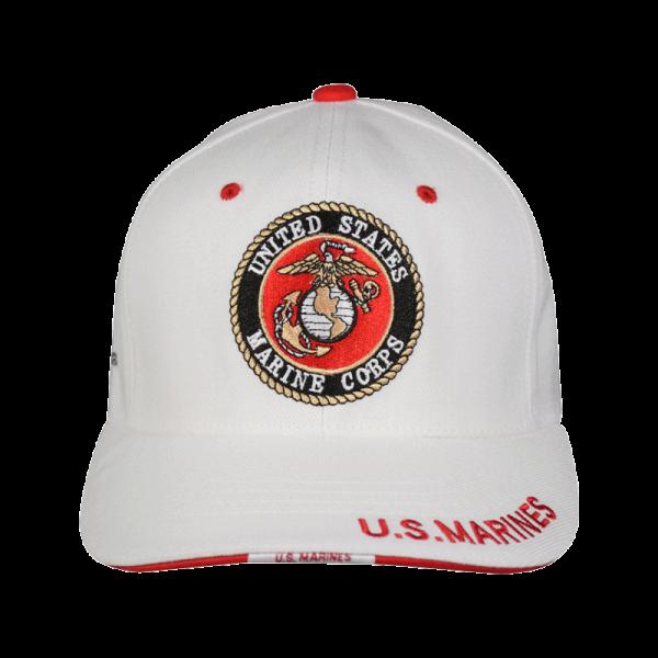 White Hat with USMC Emblem & EGA-0