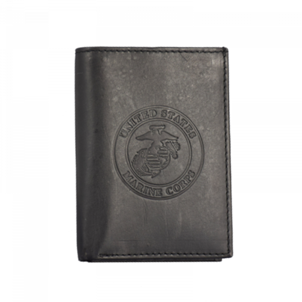Black Leather Trifold Wallet-0