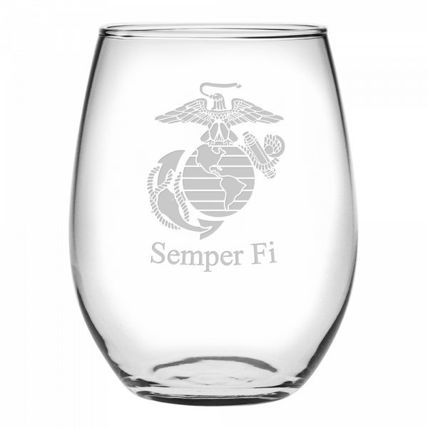 USMC Stemless Wine Glass with Etched EGA with area for customization