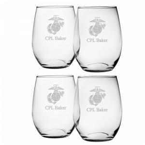 Set of 4 Personalizable USMC Stemless Wine Glasses with Etched EGA