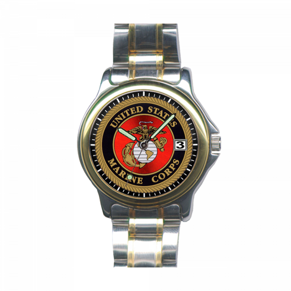 Men's USMC Emblem Analog SS Band Wrist Watch by Aquaforce