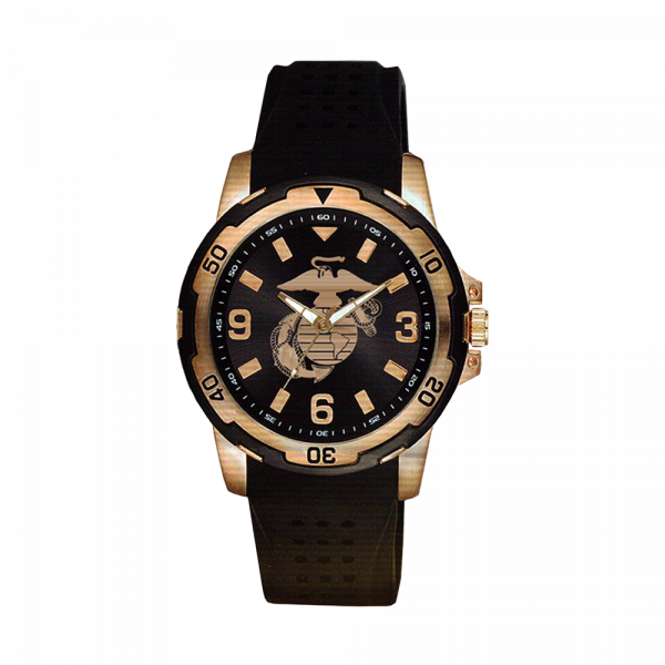 Men's USMC Logo Rose Gold Accent Black Wrist Watch