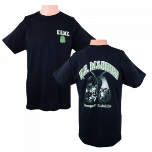 US Marine Corps Black T-shirt with Dog Tag Design