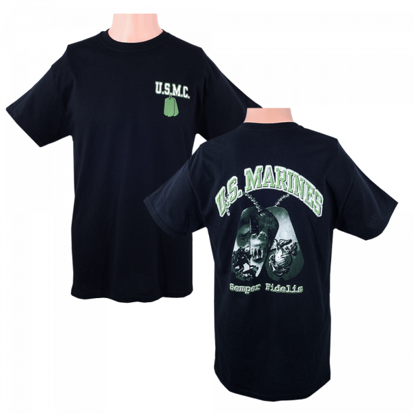 US Marine Corps Black T-shirt with Dog Tag Design