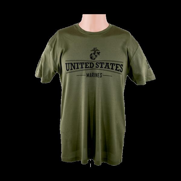 """Marines"" Warrior Tek OD Green Performance T-shirt"