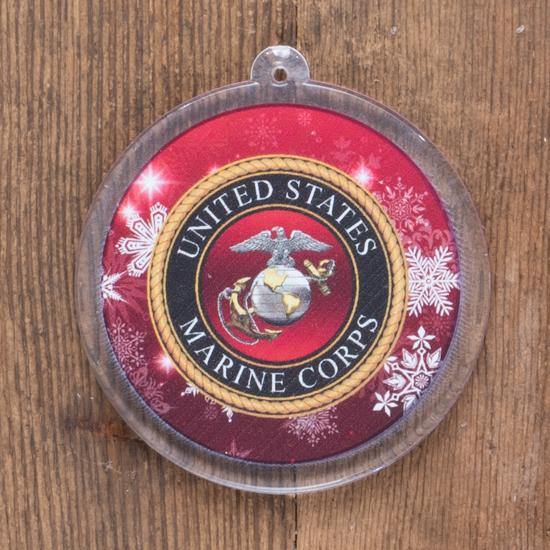 Round USMC Emblem tree ornament.